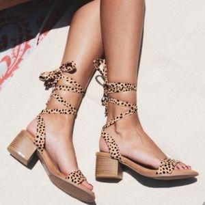 Shoes - 🚨//The Rosalia//Leopard print lace Up Sandal